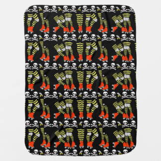 Roller Derby baby blanket, red black yellow Pram blankets