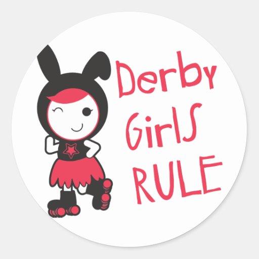 Roller Derby - Derby Girls Rule Round Stickers