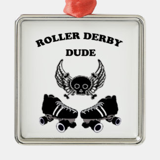 Roller Derby Dude Silver-Colored Square Decoration