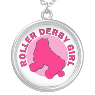 Roller Derby Girl Round Pendant Necklace
