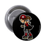 Roller Derby Jammer red Pinback Buttons