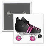Roller Derby Skate Black and Pink Buttons