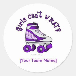 Roller Derby Skate - Purple Classic Round Sticker