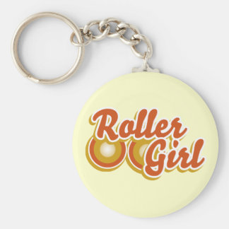 Roller Girl in the Derby Basic Round Button Key Ring