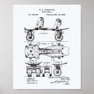Roller Skate 1879 Patent Art White Paper Poster