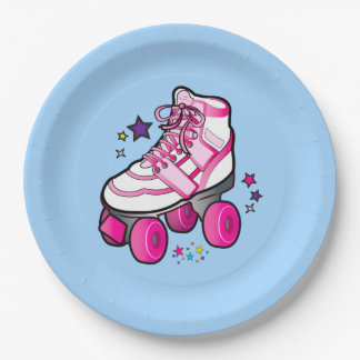 Roller Skate in Pink with Stars Paper Plate