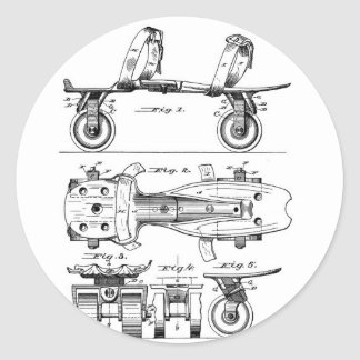 Roller Skate Patent  Paper Items Classic Round Sticker