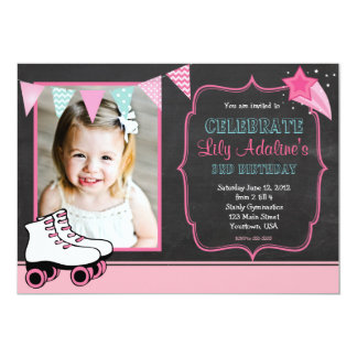 Roller Skate Pendants Birthday Invitation