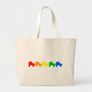 roller skate rainbow large tote bag