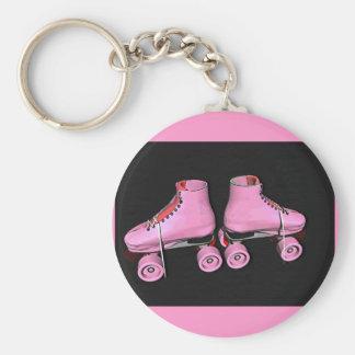 Roller skates pink key ring