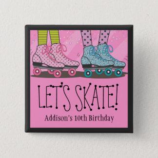 Roller Skating Birthday Party Favor for Girls 15 Cm Square Badge