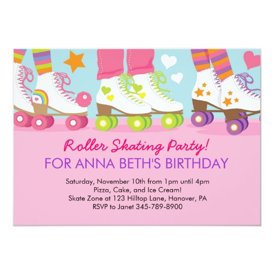 Roller Skating birthday party invitations