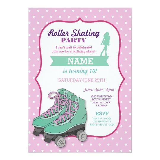 Roller Skating Birthday Party Roller Skate Invite Zazzle