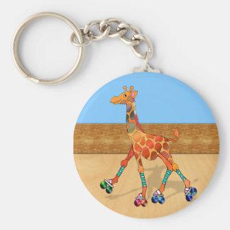 Roller Skating Giraffe at the Roller Rink Basic Round Button Key Ring