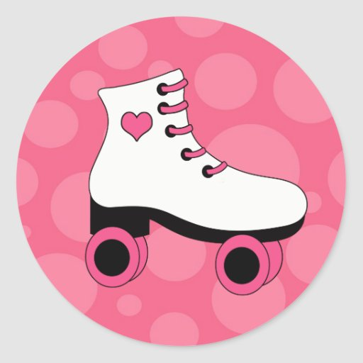 Roller Skating Heart Girls Stickers