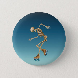 Roller Skating Skeleton Blues 6 Cm Round Badge