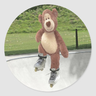 Rollerblading Teddy Bear Stickers