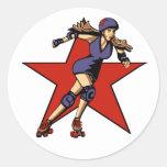 rollergirl jammer classic round sticker