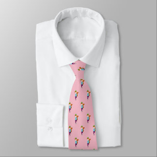 Rollerskating Fox (pale pink) Tie