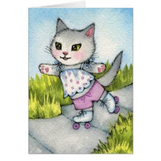 Rollerskating Kitty - Cute cat art Card