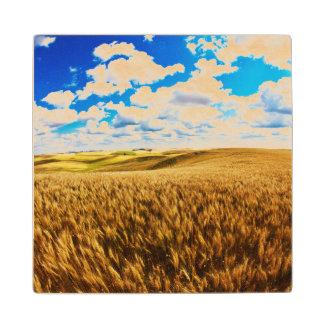 Rolling hills of ripe wheat maple wood coaster