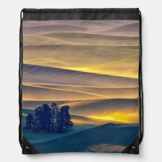Rolling Hills of Wheat at Sunrise | WA Drawstring Bag