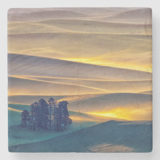 Rolling Hills of Wheat at Sunrise | WA Stone Coaster