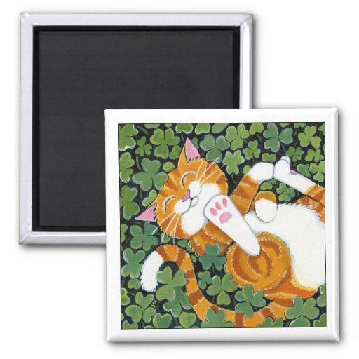Rolling in Clover - Cat Art Magnet