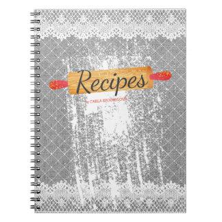 Rolling pin flour baking cookbook recipe notebook
