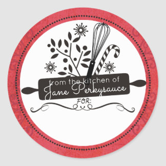 Rolling pin whisk Christmas from the kitchen of Round Sticker