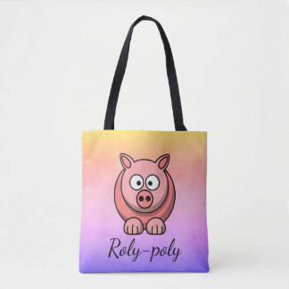 Roly-poly Pastel Pink Pig Pigling Piggywiggy Tote Bag