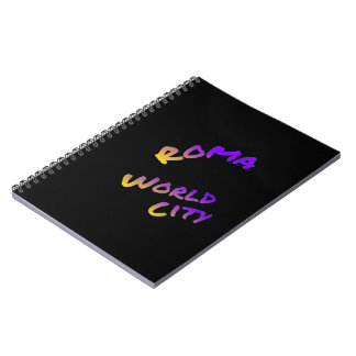 Roma world city, colorful text art spiral notebook