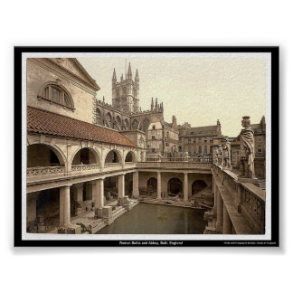 Roman Baths and Abbey, Bath, England Poster