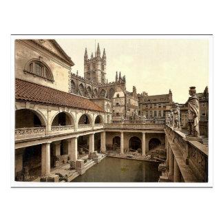 Roman Baths and Abbey, IV, Bath, England classic P Postcard