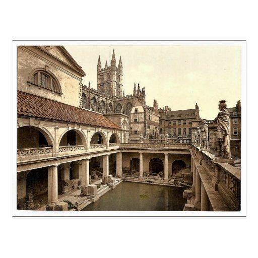 Roman Baths and Abbey, IV, Bath, England classic P Postcards