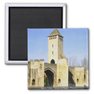 Roman bridge, Cahors, Lot Region, France Square Magnet
