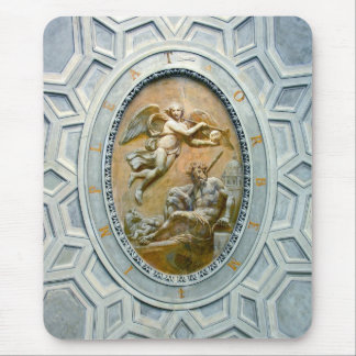 Roman Ceiling Latin Inscribed, Angel and God Mouse Pad