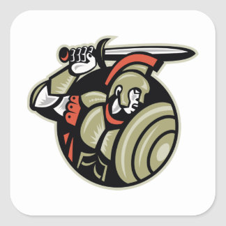 Roman Centurion Soldier With Sword And Shield Square Sticker