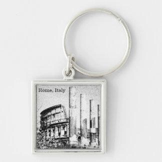 Roman Coliseum, Rome Italy Silver-Colored Square Key Ring