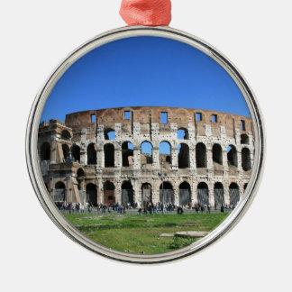 Roman Colosseum Silver-Colored Round Decoration