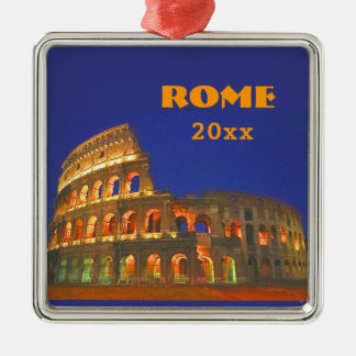 Roman Colosseum Silver-Colored Square Decoration