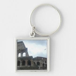 Roman Colosseum Silver-Colored Square Key Ring