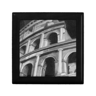 Roman Colosseum with Architectural Drawings Small Square Gift Box