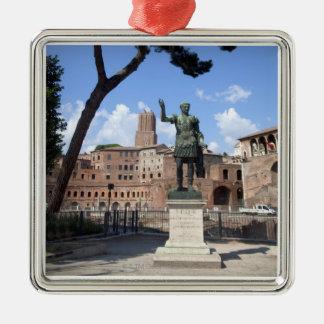 Roman emperor bronze statue at forum metal ornament