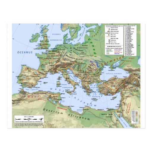 Roman Empire Map During Reign of Emperor Hadrian Postcard