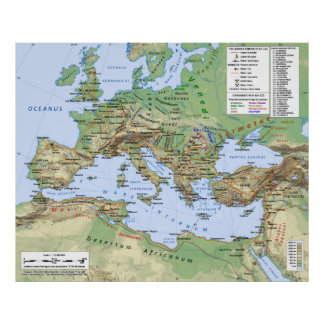 Roman Empire Map During Reign of Emperor Hadrian Poster