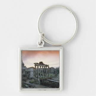 Roman Forum at dawn Silver-Colored Square Key Ring