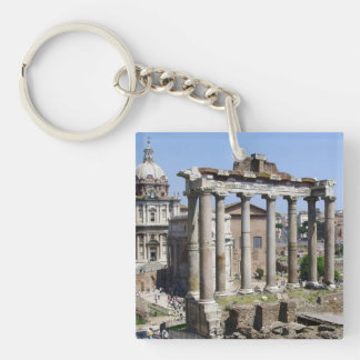 Roman Forum Double-Sided Square Acrylic Key Ring