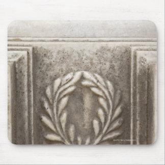 roman forum, laurel design on marble stone block mouse pad