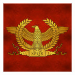 Roman Golden Eagle on Ancient Red Poster